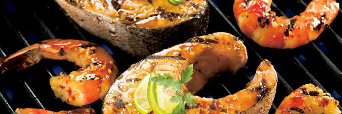 Salmon steaks with sesame and soy