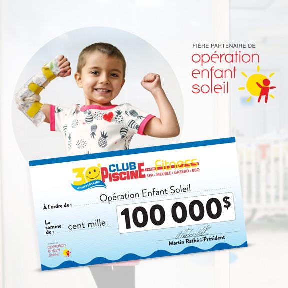 Club Piscine remet 100 000$ à Opération Enfant Soleil !